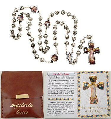 NEW MADE IN ITALY SILVER ROSEBUD BEAD ROSARY OF THE LIGHT WITH POUCH & BOOKLET