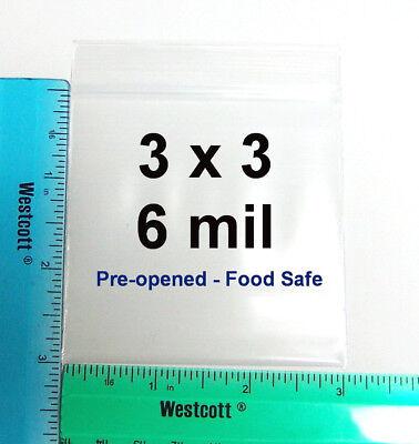 100 - 3 X 3 Clear 6 Mil Recloseable Zipper Zip Lock Ldpe Heavy Duty Zip Bags