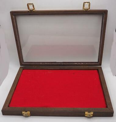 Wood Glass Top Padded Display Case Jewelry Medals Smalls 12x18