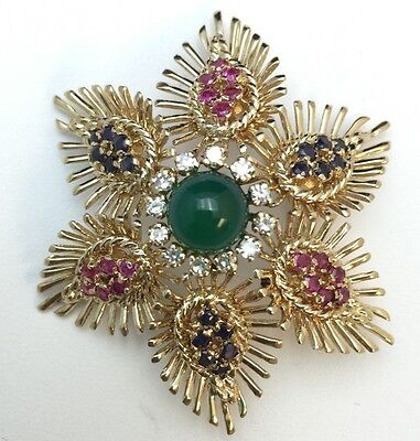 14k Yellow Gold Diamond, Sapphire, Ruby and Jade Vintage Flower Brooch