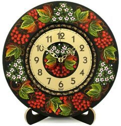 11 Wooden Wall Clock Traditional Folk Ukrainian Russian Rowan berry Artwork