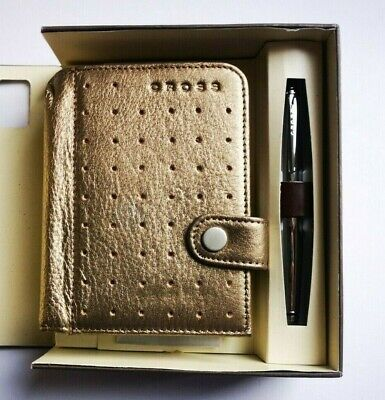 Cross Autocross Leather Collection Mini Agenda With Pen Soft Leather Bronze