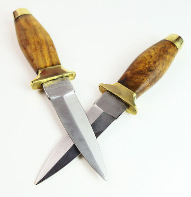 COWBOY DAGGER SET! 2 Western Double Edge BOOT KNIVES Stealth Knife Wood Leather