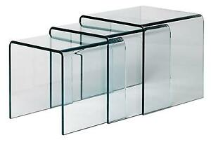 Glass nest of tables ebay clear glass nest of tables watchthetrailerfo