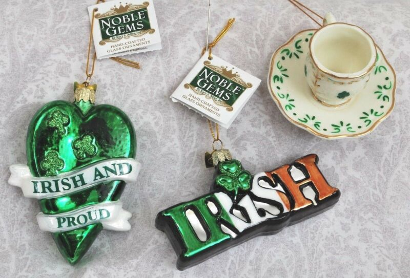 (3) glass/ceramic Ornaments:  Irish & Proud -KSA,  Irish -KSA , teacup & saucer