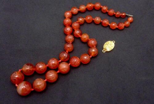 Vintage Carved Chinese Carnelian Beads Gold Clasp For Repair Scrap 25478