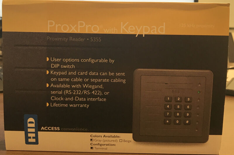 5355AGK00 HID PROXPRO PROXIMITY READER CHARCOAL GRAY WITH KEYPAD Wiegand