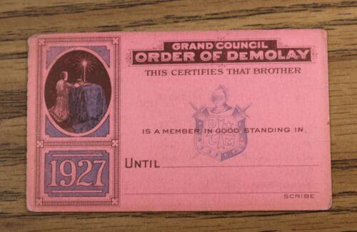 Demolay 1927 Pink Membership Card - Blank