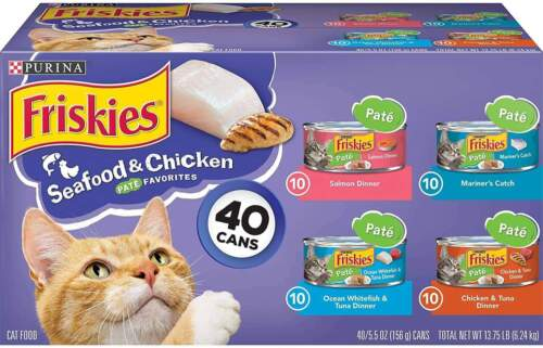 Purina Friskies Canned Wet Cat Food 40 ct. Variety Packs (40) 5.5 oz. Cans