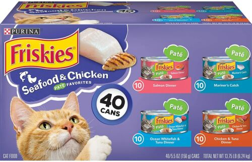 Purina Friskies Canned Wet Cat Food, Seafood & Chicken Pate Favorites(40) 5.5 oz