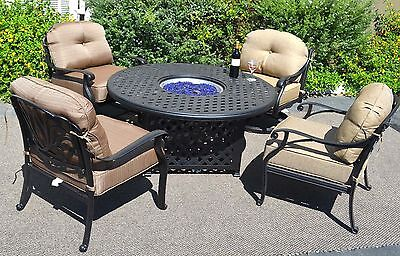 Outdoor Propane Fire Pit Table Set of 5 Elisabeth Deep Seating Chairs Aluminum