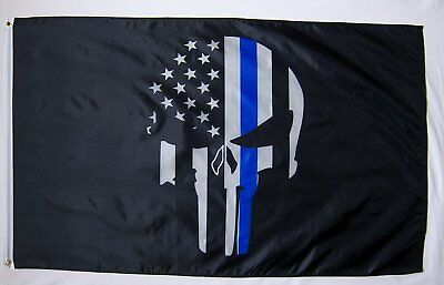 3x5 Police Flag Thin Blue Line Flags Punisher Banner Memorial USA Skull