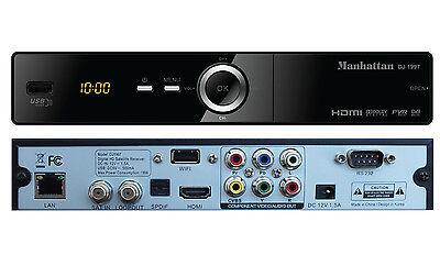 MANHATTAN DJ-1997 HD PVR DVB-S2 MPEG-4 FTA SAT+ IPTV RECEIVER + USB WIFI Antenna