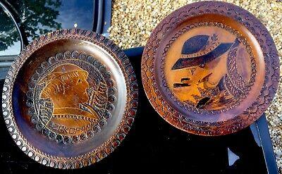 Two Vintage ZAKOPANE Poland Polish Wood Inlaid Brass Circular Wall Plaque