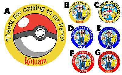 POKEMON PERSONALIZED ROUND BIRTHDAY PARTY STICKERS FAVORS ~ VARIOUS SIZES - Pokemon Birthday Favors