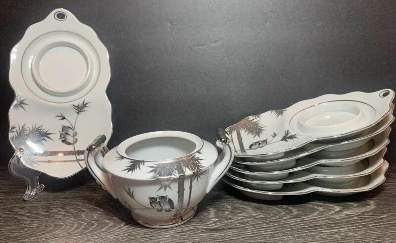 Set (6) Vintage Kutani Japanese Silver Bamboo Owl Snack Plates & Sugar Bowl RARE