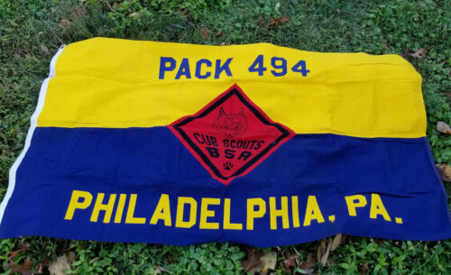 Boy Cub Scouts BSA Vintage Defiance Cotton Bunting Troop Banner Flag Philly 494
