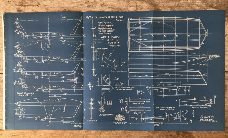 Vintage Antique Original Outboard Motor Boat BLUEPRINT Nautical 1920's