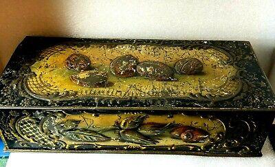 Late Victorian /Edwardian Cracker tin Walnuts/Hazlenuts embossed Design 25x11cm