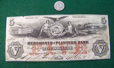 1856 $5 The Merchants and Planters Bank, Georgia GA - nice UNC note - FREE SHIP