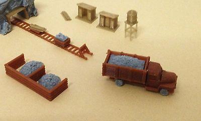 Outland Models Train Railway Ore Mining Accessories: Cart Truck Shanty.. N Scale