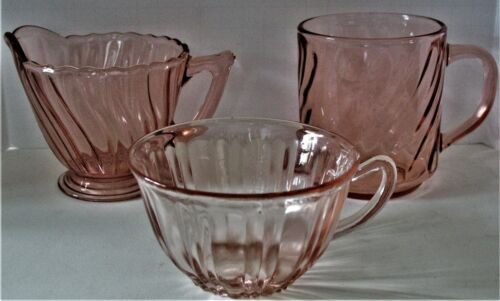 Lot of 3 Pink Glass Pieces Swirl ARCOROC mug Swirl Dep Creamer and Old Cafe Cup