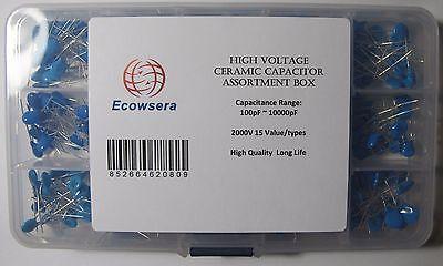 15 Value 300 Pcs High Voltage Ceramic Capacitor Kit 2kv 2000v 100pf 10000pf