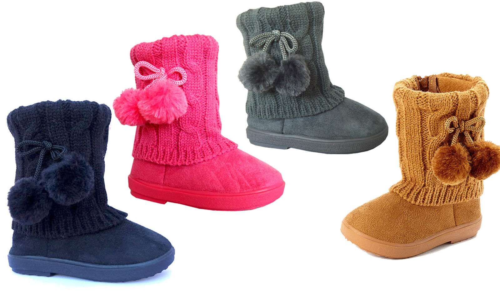 New Kids Boots Toddler Girls Pom Pom Faux Fur Suede Knitting