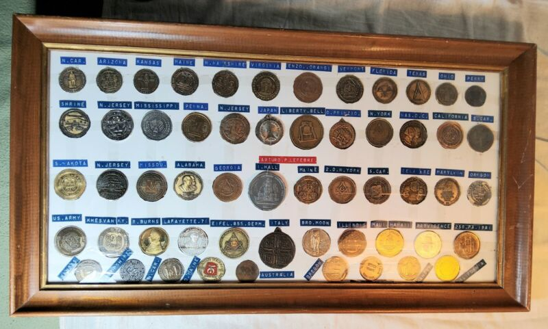 RARE SET OF 56 DIFFERENT MASONIC MEDALS FROM ALL OVER IN FRAMED DISPLAY SILVER S