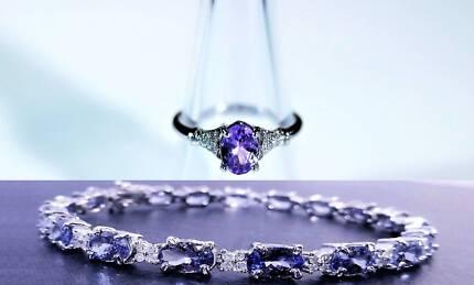 Stunning Tanzanite Diamond Ring &Tanzanite Diamond TennisBracelet