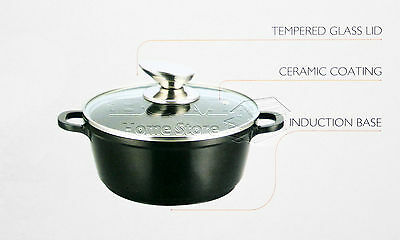 3pc Non Stick Die-Cast Casserole Set INDUCTION Glass Lid Cookware Black 18-26cm