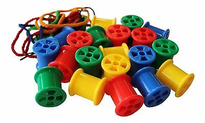 20 Cotton Reels With 2 Laces Threading Sorting Sequencing Maths Stacking