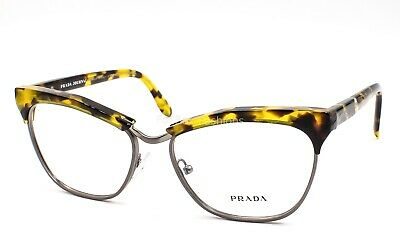 Prada VPR 14S UBN 1O1 Clubmaster Eyeglasses Frames Glasses Yellow Tortoise (Yellow Eye Glasses)