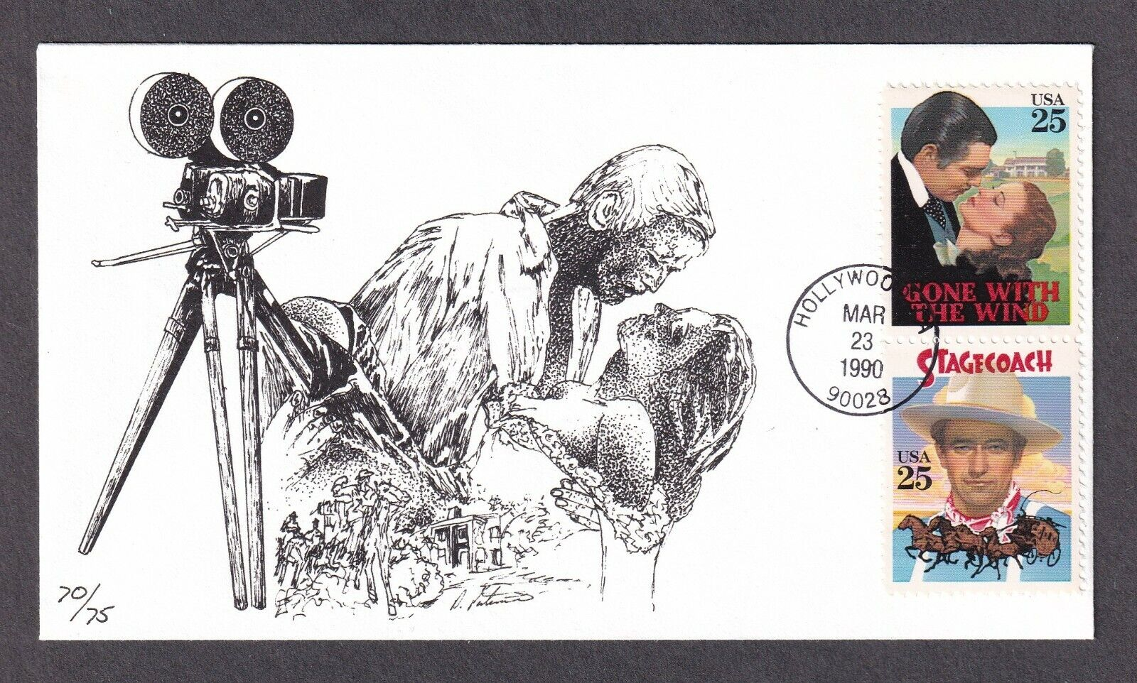 Classic Films FDC, Peterman, Gone With The Wind, Stagecoach, 2446 2448 - $6.00