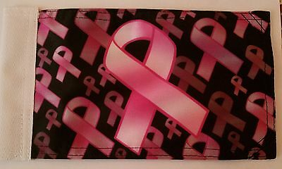 RUMBLING PRIDE BREAST CANCER RIBBON MOTORCYCLE FLAG  6X9 MADE IN USA