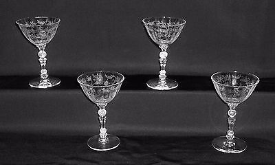 """Fostoria Crystal Etched Chintz 5"""" 4 Ounce Wine Cocktail Stems - 4"""