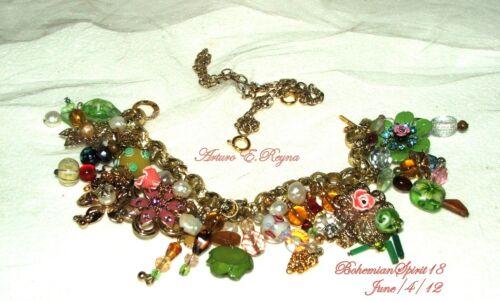 Vintage Charm BRACELET NECKLACE Czech Glass Natural Pearls ENAMEL FLOWERS