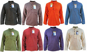 liso-hombre-algodon-manga-larga-Abuelo-Sin-Cuello-Boton-Ligero-Camiseta