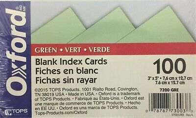Tops Oxford Blank Index Cards 3 X 5 Green 100pack