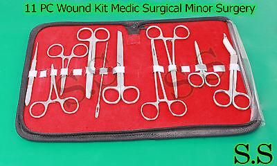 11 Pc Wound Kit Medic Surgical Minor Surgery Instrument Scissor Forceps