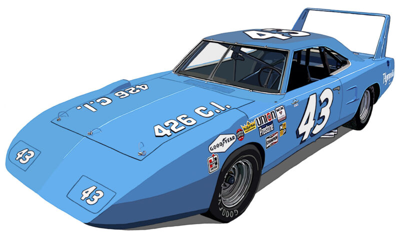 Richard Petty number 43 NASCAR Plymouth Superbird canvas print Richard Browne