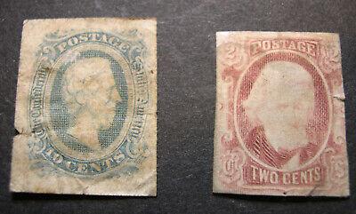 US 1863-64 Confederate Stamps Scott 8 and 10d in rough shape CV $165 PZ1