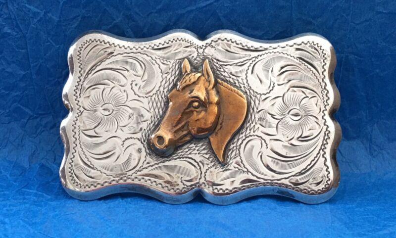 BEAUTIFUL Vintage 1960's STERLING SILVER American Diablo Brand HORSE Belt Buckle