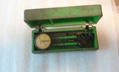 Federal Testmaster Dial Indicator In Org. Green Plastic Box With Attachments