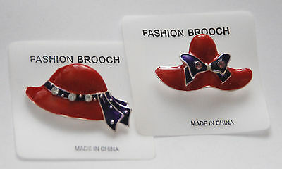 (Red Hat Theme Pin w Crystals  / Silver-tone Set / Novelty Red Hat Jewelry / NEW)