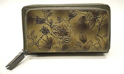 NWT Firenze Bella Tooled Genuine Leather Double Zip around Wallet RFID OLIVE - Firenze Double Billfold