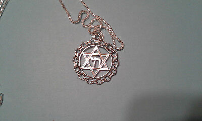 Star of David in circle with Chai, Gold tone.Messianic Jewish Interest!Yeshua!