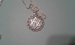 Star of David in circle with Chai, Silver tone.Messianic Jewish Interest!Yeshua!