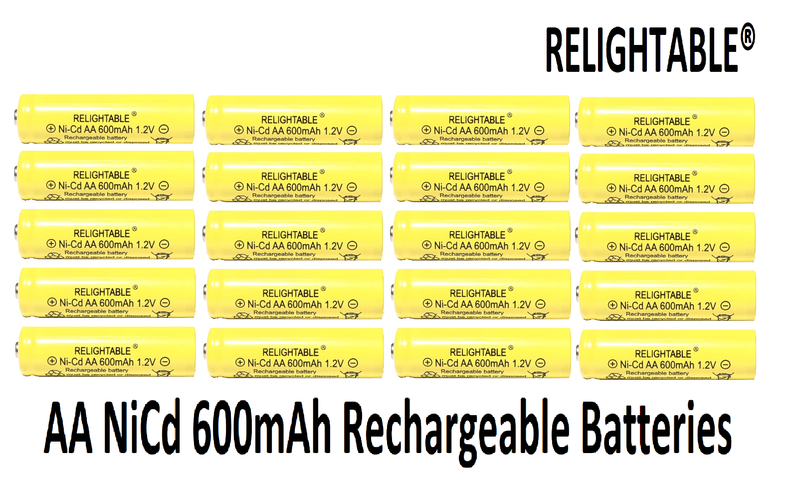 20 AA Rechargeable Batteries NiCd 600mAh 1.2v by RELIGHTABLE