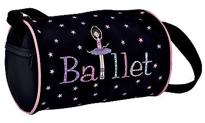 Girl's Black Geena Ballerina Dance Ballet Bag Duffle New